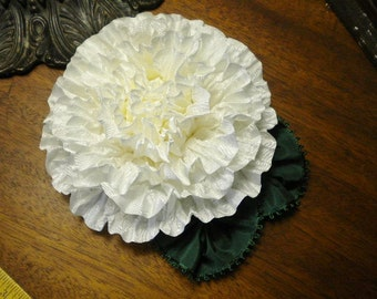 Huge White Peony Ribbon Flower Millinery Applique