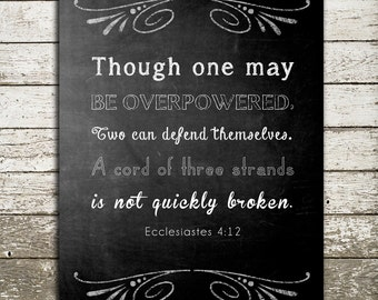 Bible Verse Wall Art Print - A Cord of Three Strands Ecclesiastes 4 - Scripture Art for the Wall - Christian Gift