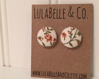 Vintage Floral Button Earring