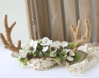 Fauna and Fawn  - floral crown flower crown woodland ivory with deer antlers toddler child teen adult halloween costume