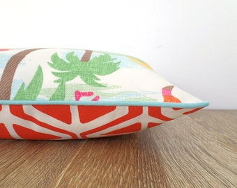 Tropical pillow cover beach house decor, flamingo outdoor pillow cover, geometric cushion case mothers day gift for her