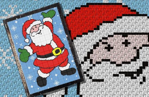 Weihnachtsmann im Schnee C2C häkeln Muster/Tabelle/Diagramm PLUS kostenlose schriftliche Muster
