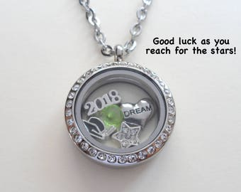 Graduation Floating Charm Locket Necklace, Class of 2018 Necklace, Living Locket, Graduate Gift Necklace, Daughter Necklace, Going Away Gift