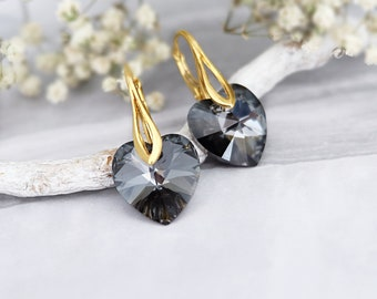 Heart earrings, Swarovski earrings, Small dainty earrings, Delicate crystal earrings, Everyday Sterling Silver earrings, Black gold earrings