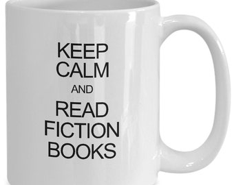 Coffee mug for fiction book readers, librarian gift, tea cup/decal for book nerds, reader gift