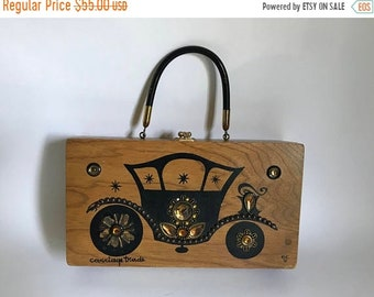 Sale - Vintage 1960's Enid Collins of Texas Jeweled Carriage Trade Wooden Box Bag Purse