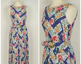 blue trellis red rose floral gauze dress feminine 80s to 90s vintage long sleeveless sundress small to medium