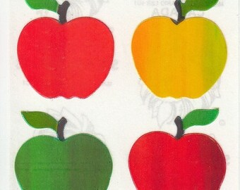 SALE Vintage Sandylion Pearl Apples Sticker Mod - 80's Apple Granny Smith Red Delicious Golden Pearly Opal MOP Iridescent Scrapbook