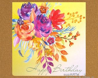 Floral Happy Birthday card
