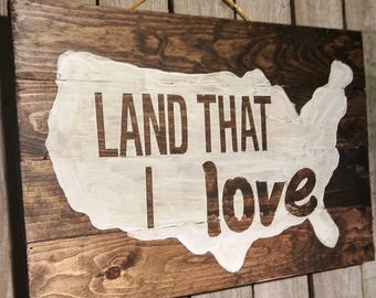 Wooden Recycled Wood, Land the I Love, US Outlined Map