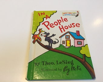 Vintage In a People House beginner Book Theo LeSieg Hardcover Book - Vintage Book