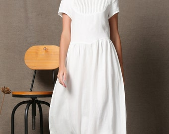 Plus size dress, Linen Dress, maxi linen, white dress woman, woman dress, long dress, plus size clothing, linen dress for women C536