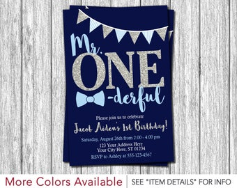 Mr. ONEderful Birthday Invitation   Mr One-derful First Birthday Invitations   Navy Blue and Silver