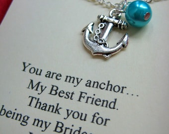 Anchor Bridesmaids Gift Necklace, Free Personalized Card Jewelry Box. Other Pearl Color Available.