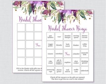 Purple Floral Bridal Shower Bingo Printable - 60 Unique Pre-filled Bingo Cards AND Blank Cards - Purple & Gold Watercolor Bridal Bingo 0008