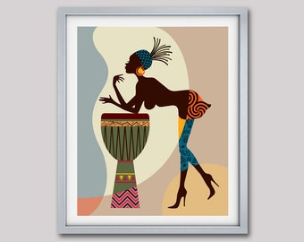 African American Art, African wall Art Decor, African Woman, African Art painting, Black Woman Painting, Black Woman