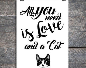 Affiche All you need is love and a cat, Chat noir et blanc, Imprimable, Décoration murale, impression digitale, Taille A2, A3, A4, A5, A6