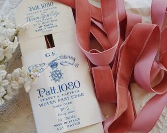"1y Antique French 7/8"" Dusty Rose Pink Lush Rayon Velvet Taffeta Back Millinery Ribbon Trim Vintage Ladies Hat Flapper Downton Abbey Cloche"