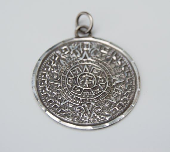 Vintage sterling silver aztec calendar pendant sterling aloadofball Images