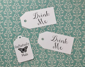Drink Me Labels - Set of 10 - Alice in Wonderland - Birthday - Baby Shower - Custom Tags