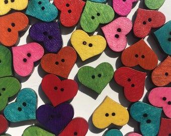 Wooden Buttons- Little Hearts- 7pcs wood buttons