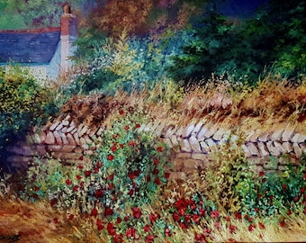 """20th C., Monica Childs, Painting """"Cornish Wall in Summer"""", signed"""