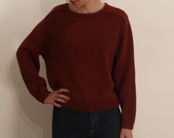 1980s Red Wine Cotton Sweater XS S M