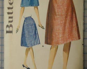 Butterick 2235 - 1960s Sewing Pattern - Ladies Gently Flared Skirt - Size Waist 30/Hip 40