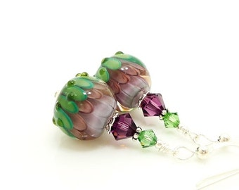 Purple Green Earrings, Lampwork Earrings, Glass Earrings, Glass Bead Earrings, Lotus Flower Earrings, Unique Earrings, Unusual Earrings