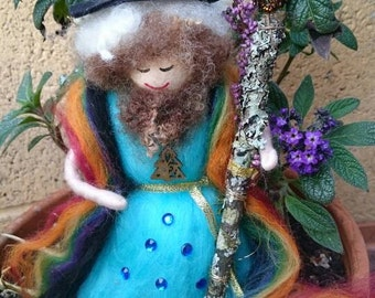 Wool Felt Fairy - Rainbow Wizard