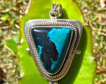 Vintage Chrysocolla and Tenorite in .925 Sterling Silver Pendant-97.5 Cts.  55mm L X 34mm W