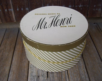 Mr Henri New York Gold Striped Medium Round Hat Boxes Mid Century with Roping