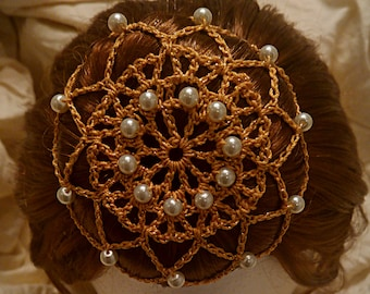 Crochet Gold Bun Cover Snood with White Beads