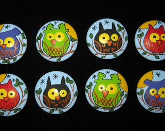 OWLS on BLUE Wooden Knobs - Hand Painted Wooden Drawer Knobs/Pulls - Set of 8 - Great for Kid's Room, Nursery or Office
