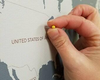 Push Pin Travel Map, World Travels Map, World Map Canvas, Travel Map, Push Pin Map, Personalized Push Pin Map Wedding Gift, FASTEST SHIPPING