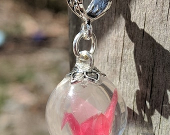 Pink Origami Crane Charm Necklace