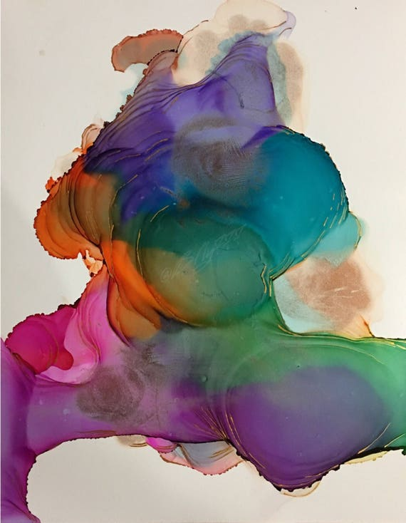 """Original Alcohol Ink Abstract Painting: """"Twisted"""" (11"""" X 14"""")"""