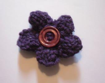 Purple Flower Brooch, Flower Pin, Knitted Brooch