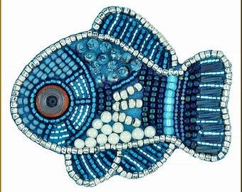 Wonderful Blue Fish Necklace Focal Embroidery Kit by Kristy Zgoda