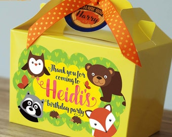 Personalised WOODLAND Fox Bear Raccoon Owl Forest Wild Birthday Party Bag Box Lunch Box Activity Yellow Blue