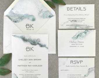 Elegant Green Ombre Eucalyptus Monogram Wedding Invitations with Two Inserts
