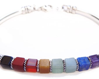 Chakra Bracelet: Sterling Silver 7 Stone Crystal Healing Bracelet