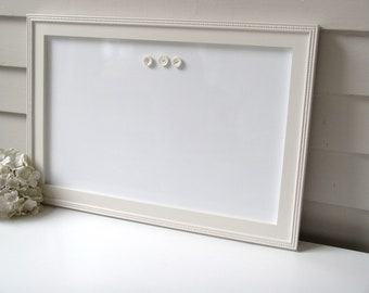 "Cottage Magnetic Dry Erase Board - Whiteboard Bulletin Board 15"" x 22"" Handmade Solid Wood Frame in China White Memo Magnet Board"