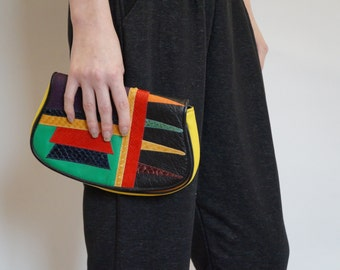 Vintage CARLOS FALCHI Tribal Colorblock Clutch Bag - Designer