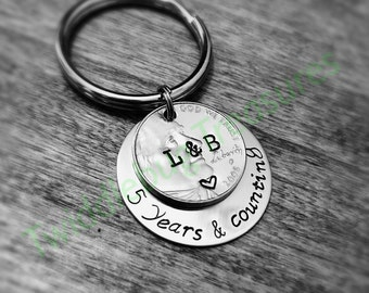 5 Year Anniversary Key Chain - Hand Stamped - Coin Keychain - Anniversary