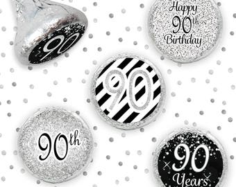Celebrate Turning 90 Party Favors Stickers for Hershey Kisses, Milestone 90 Silver Glitter Theme 90th Birthday 90th Decorations - Set of 324