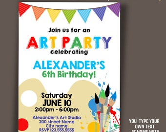 Art Party Invitation, Paint Birthday invite, Instant Download, Self Editable PDF A420-3081