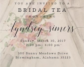 Bridal  tea bridesmaid luncheon invitation custom original watercolor wedding bridal party lunch invitation flowers