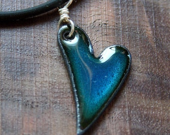 XOXO Heart Necklace, Enamel Heart Jewelry, Blue Heart Pendant, Copper Enamel Jewelry, Show some LOVE
