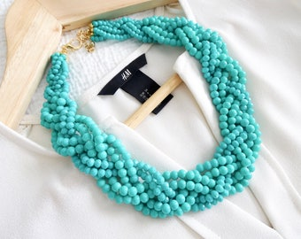 The Emmalyn Teal Braid Statement Necklace, Teal Statement Necklace, Beaded Braid Necklace, Chunky Necklace, Turquoise Necklace, Gift for her
